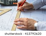 mechanical engineer at work.... | Shutterstock . vector #413792620