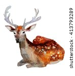 horned deer watercolor | Shutterstock . vector #413793289