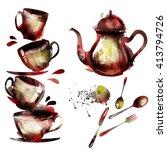 watercolor tea set | Shutterstock .eps vector #413794726