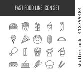 set of line icons with fast... | Shutterstock .eps vector #413799484