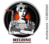professional welder  pop art ... | Shutterstock .eps vector #413803060