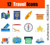 flat design travel icon set in...