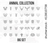 Set of geometric animals head isolated on white background vintage vector design element illustration | Shutterstock vector #413810758