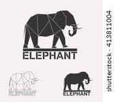 elephant logo set. elephant... | Shutterstock .eps vector #413811004