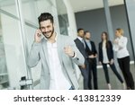 businessman on a phone in the...   Shutterstock . vector #413812339