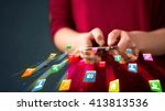 man holding smartphone with... | Shutterstock . vector #413813536