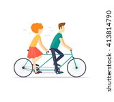 couple riding tandem bicycle... | Shutterstock .eps vector #413814790
