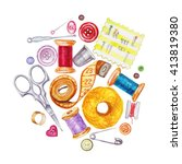 various watercolor sewing tools.... | Shutterstock . vector #413819380