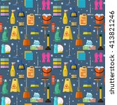 cleaning  seamless pattern  | Shutterstock .eps vector #413821246