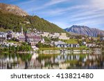 Peaceful summer morning in Sankt Moritz (St. Moritz), Swiss Alps