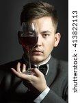 handsome man in black suit... | Shutterstock . vector #413822113