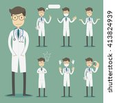 set of doctor character poses. | Shutterstock .eps vector #413824939