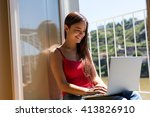 beautiful woman relaxing with a ... | Shutterstock . vector #413826910
