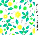vector pattern with fresh lemon ... | Shutterstock .eps vector #413826988
