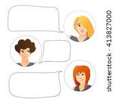 women chatting  avatar  icon ... | Shutterstock .eps vector #413827000