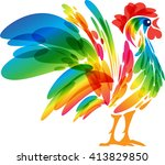 rooster design on a white... | Shutterstock .eps vector #413829850