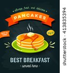 best breakfast   chalkboard... | Shutterstock .eps vector #413835394