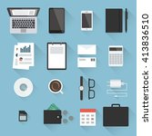 business desktop objects set in ... | Shutterstock .eps vector #413836510