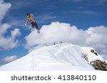 snowboard rider jumping on... | Shutterstock . vector #413840110