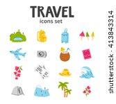 set of 16 travel and vacation...   Shutterstock .eps vector #413843314