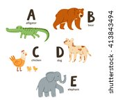 animal alphabet letters a to e  ... | Shutterstock .eps vector #413843494