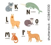 animal alphabet letters k to p  ... | Shutterstock .eps vector #413843530