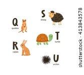 animal alphabet letters q to u  ... | Shutterstock .eps vector #413843578