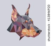 doberman low poly vector... | Shutterstock .eps vector #413846920
