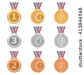 set of gold medals  silver... | Shutterstock .eps vector #413846968