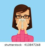 allergy woman. vector flat... | Shutterstock .eps vector #413847268