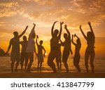 group of people party on the... | Shutterstock . vector #413847799