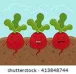 beet grow underground. vector... | Shutterstock .eps vector #413848744