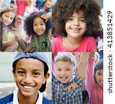 adolescence childhood diversity ... | Shutterstock . vector #413851429