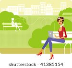young stylish lady using laptop ... | Shutterstock .eps vector #41385154
