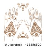 vector henna tattoo hands... | Shutterstock .eps vector #413856520