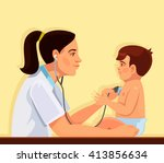 pediatrician and child. vector... | Shutterstock .eps vector #413856634