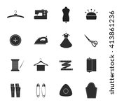 sewing icons set. sewing and... | Shutterstock .eps vector #413861236