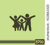 happy family icon in simple... | Shutterstock .eps vector #413861320