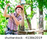 adventure climbing high wire... | Shutterstock . vector #413862019