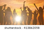 young adults enjoying a... | Shutterstock . vector #413862058
