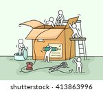 sketch of working little people ... | Shutterstock .eps vector #413863996