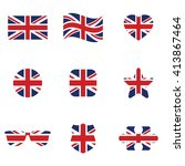british flag icon set . vector...
