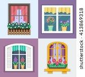 details   window set for... | Shutterstock .eps vector #413869318