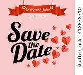 vector wedding invitation card... | Shutterstock .eps vector #413873710