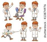 doctor cartoon character set... | Shutterstock .eps vector #413874976