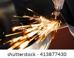 drill with diamond tipped... | Shutterstock . vector #413877430