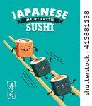 vintage sushi poster design... | Shutterstock .eps vector #413881138