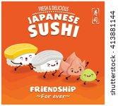 vintage sushi poster design...   Shutterstock .eps vector #413881144