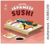 vintage sushi poster design.... | Shutterstock .eps vector #413881150