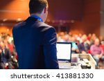 speaker at business conference... | Shutterstock . vector #413881330